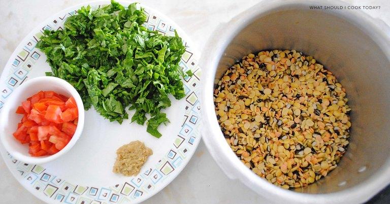 mixed dal palak ingredients