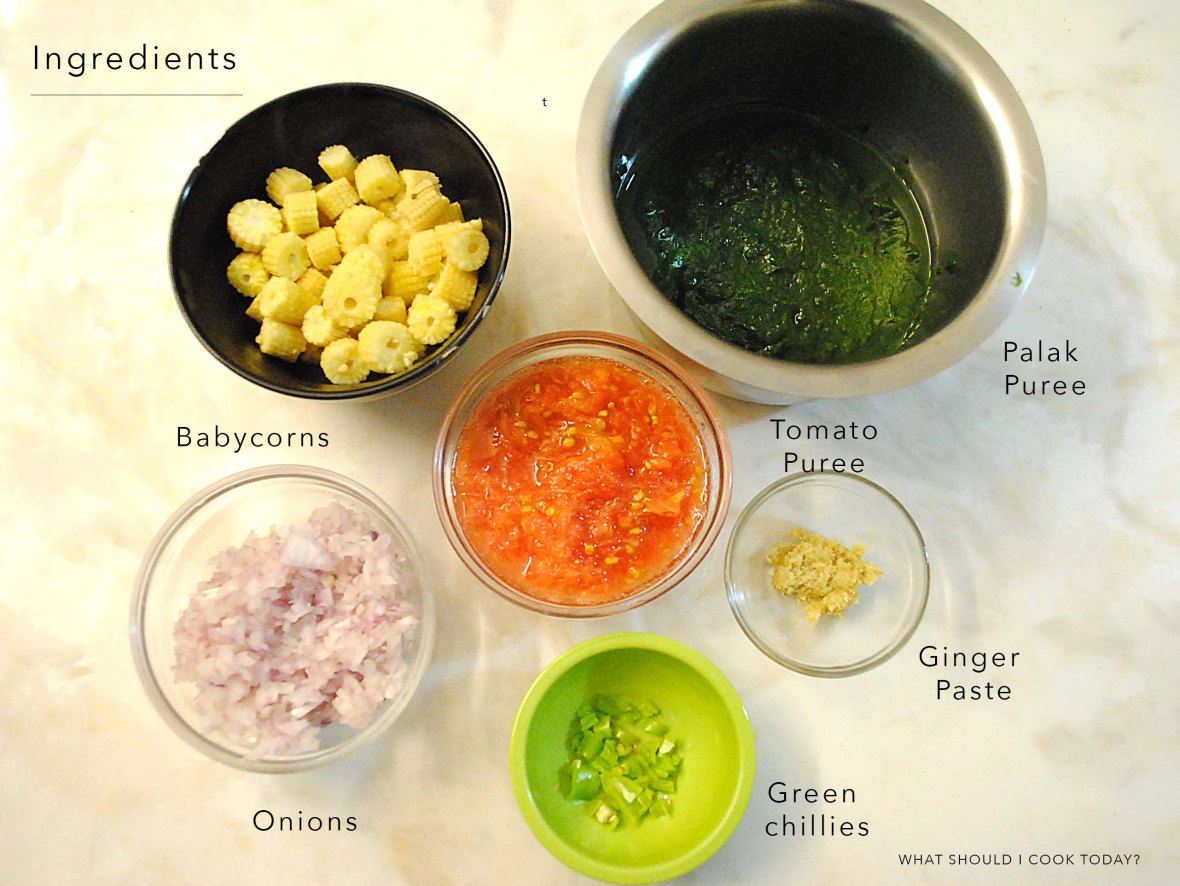 Palak babycorn ingredients